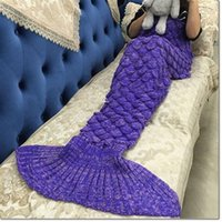 Wholesale Wholesale Fur Baby Blankets - supper soft fish style blanket handmade fish Scales design blanket spring autumn mermaid tail blanket warm sleep bag for kids baby