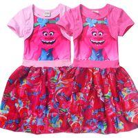 Wholesale poppy dress - New baby girls Trolls Poppy Branch dress cartoon Children Trolls printing short sleeves Princess dresses Kids clothes C1732