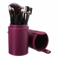 Wholesale Pen Brush Cosmetic Container - Wholesale- Empty Portable Makeup Brushes Round Pen Holder PU Storage Cosmetic Tool Leather Cup Container Pot, 4 Solid Colors