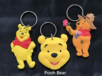 Wholesale Nice Girls Boys - animation Pooh Bear PVC rubber two-sides doll collection keychain keyring gift nice cute Young Boys Girls key gift