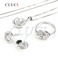 Wholesale Pendant Mounts Settings - Jewelry Set Mounting of 925 Silver Stud Earrings Pendant and Ring
