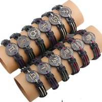 Wholesale Trendy Black Charm Bracelets - 2017 wholesale 12pcs per lot trendy handmade vintage the signs of the zodiac cuff leather bracelet