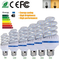 Wholesale Bulb Corn Led 16w - Super Bright Spiral LED Corn Light Bulbs SMD2835 E27 B22 LED Bulb lamp 360degree Led Lighting 5W 7W 9W 12W 16W 20W 24W 30W AC85-265V
