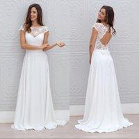 Wholesale Silver Beach Wedding Dress - 2017 White Chiffon Beach Wedding Dresses 2017 Cap Sleeve Sexy Long Lace Wedding Dress Plus Size Cheap Country Bridal Gowns