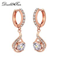 Wholesale White Cz Earrings Dangle - CZ Diamond Drop Dangle Earrings Unique Silver Platinum Rose Gold Plated Crystal Cubic Zircon Fashion Party Wedding Jewelry For Women DFE685