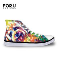 Wholesale White Canvas Painting Green - Wholesale-Yorkshire Terrier Dog Painting Women Casual Shoes for Teenager Girls Lace-Up Ankle Flats Ladies Walking Shoes High-top Shoes