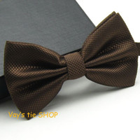 Wholesale Solid Color Brown Bow Ties - Fashion Mens Coffee Color Bowtie Dull Jacquard Plaid Grid Leisure Solid Wedding Tuxedo Bow Ties Brown Cravat