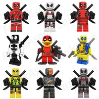 Wholesale White Collection Wholesale - 27pcs lot Deadpool Figures Collection Super Heroes Minifig Plating Red Green Yellow White Black Deadpool Mini Building Blocks Figures Toy
