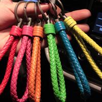Wholesale Tungsten Key Pendant - Creative handmade pu tungsten steel leather rope keychain custom fashion car key chain pendant accessories S079