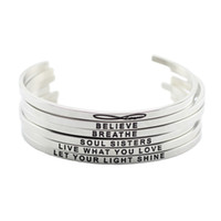 Wholesale Bracelet Words - New arrival! stainless steel open cuff bracelet silver Hand Stamped Bracelet Bangle engraved words bracelet bangle jewelry