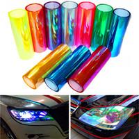 farbwechsel tönungsfolie großhandel-10 meter x 30 cm licht aufkleber auto scheinwerfer film aufkleber licht shiny chameleon ändern auto farbton vinyl wrap ändern aufkleber abdeckungen