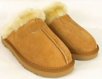 Wholesale Australia Logos - DORP SHIPPING new Factory Outlet Australia Classic Women Men Cow Leather Snow Adult Slippers US5-13 Bag Logo pink sandy chestnut chocolate