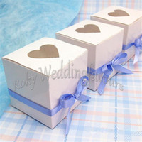 Wholesale Cupcakes Party Favors - Free Shipping 100pcs 7.5cmx7.5cm White Glossy Heart shaped Window Engagement Party Favors Candy Boxes Cupcake Boxes Anniversary Party Gifts