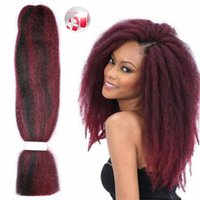 Wholesale Kanekalon Hair Weave - Afro Kinky Synthetic PP Jumbo Braids Hair Kanekalon Crochet Braiding Hair Extensions Curly Weave Burgundy Havana Mambo Hair Braids