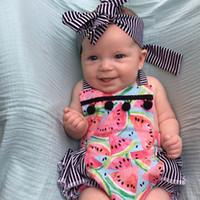 Wholesale Newborn Bottoms - Striped Baby Clothes Summer Ruffle Bottom Halter Baby Girls Bodysuit Set Pom Watermelon Print Cute Newborn Outfit Girls Clothes