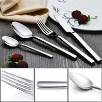 Wholesale Stainless Steel Flatware Cutlery - Square Handle Flatware Set Western Cutlery Set Stainless Steel Knife And Fork Spoon 4 Piece Sliver Tableware