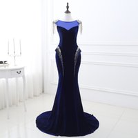 Wholesale Drop Shipping Evening Dresses - Latest Free Shipping In Stock Royal Blue Mermaid Velvet Evening Dresses 2017 Beaded Crystals Lace Up Back Formal Evening Gowns Prom Dresses