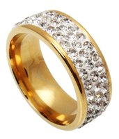 Wholesale Wholesale Titanium Mens Rings - Hot Womens Mens 3Row Rhinestone 316L Titanium Stainless Steel Gold Plated Wedding Jewelry Rings Ring Gift
