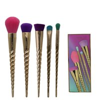 Wholesale Gold Toothbrush - New hot Tarte cosmetics 5pcs set makeup brushes Fashion designer gold brush sets makeup brands Foundation makeup tools toothbrush