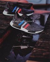 Wholesale Running Tri - Originals NMD R1 Tri-Color boost Runner Primeknit PK Red white blue GREY Men Women nmds boost Running Shoes sports Sneakers Shoes Eur 36-45