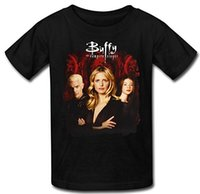 Wholesale Vampire T Shirt Mens - Mens Buffy The Vampire Slayer TV Series T Shirt Black blue color 100% cotton