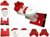 Wholesale Acrylic Bathroom Set - 3pcs set Cheap Merry Christmas Santa Ornament Snowman Toilet Seat Cover Toilet lid New Year Xmas Christmas Rug Bathroom Decoration Wholesale