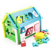 Wholesale Toy Wooden House Block - Wholesale-Educational Toys Baby 1 - 3 years old Wooden Geometry Shape Blocks & Number House DIY 109
