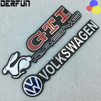 Ajuste para VW Volkswagen CC Gti Tiguan Golf 6 Mk6 Car Emblem Sticker Decal Side Fender Rear Badge Aleación de aluminio
