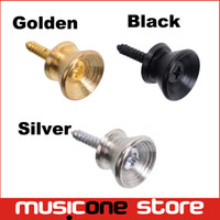 Wholesale Metal Bass Guitars - Ukulele Acoustic Classical Electric Bass Guitar Strap Lock StrapLock Locking Pegs Pins Metal End Buttons Gold chrome Black