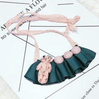 Wholesale Cute Love Dolls - Cute Kawaii Kids Lace Bear Doll Pendent Necklace for Girl Kids Gift Choker Jewelry Accessory Wholesale