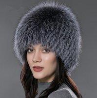 Wholesale Genuine Fox Fur Hat - LUCKYFUR women winter fur hat genuine fox fur hats knitted silver fox caps female russian bomer caps
