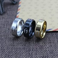 Wholesale Tungsten Black Batman Ring - Never Fade 316l stainless steel Jewelry 3 Colors US HERO batman ring black tungsten carbide rings For Women Men favors and gifts