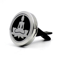 Wholesale buddha car resale online - Hot Sale mm Magnetic L Stainless Steel Lucky Buddha Car Perfume Locket Hearts Car Aroma Essential Oil Diffuser Locket With Free Pads