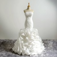 Wholesale Trumpet Flower Court Wedding Gown - Real Photos Elegant Organza Lace Up Back Crystals Beads Mermaid Ruffles Wedding Dresses Flowers Wedding Gowns 2018 Style Dresses For Bride