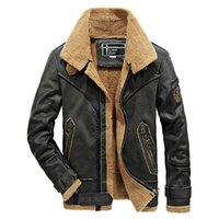 Wholesale Mens Fur Jackets Xxl - Male Mens Leather Jacket Autumn Coat Motorcycle Biker Jackets Fur Linner Thick Warm Overcoat Outwear XXXL XXL Waterproof Brand