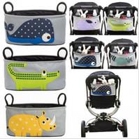 Wholesale Baby Diaper Cartoons - Cartoon Baby Stroller Bag Diaper Bag Large Capacity Baby Hanging Basket 10 styles Multifunction Stroller Organizer Stroller Accessories D868