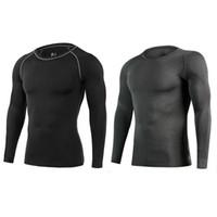 strumpfhose t-shirt für sport groihandel-EU-Männer-Kompressions-Oberseiten-lange Hülsen-Basisschicht-laufendes T-Shirt, Sport im Freien, feste elastische Komfortkleidung,