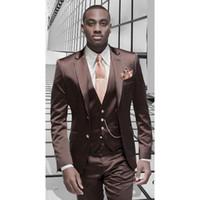 blazer designs para casamento venda por atacado-Marrom de Cetim Homens Terno Formal Design Italiano Smoking Personalizado Elegante 3 Peça Blazer Masculino Ternos De Casamento (Jaqueta + Calça + Colete)