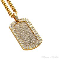 Wholesale Men Wearing Necklaces - Fashion Hip Hop Gold Dog Tag Pendant Necklaces Mens Jewelry Full Rhinestone American Star Popular Wear Necklace Men