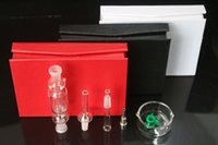 Wholesale Black White Nail Tips - Micro Straw Dab Nector Kit Quartz Nail 10mm 14mm 18mm With Titanium Tip Oil Rigs Glass Bong With Black Red White Gift Box