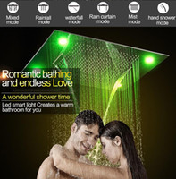 Wholesale Embedded Shower Head - full set Luxury led Large rain shower head Two people 600x800mm with Waterfall Shower head with embedded ceiling rainfall Led Ceiling shower