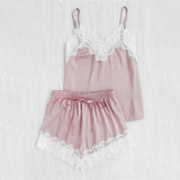 Wholesale Satin Sleeping Wear - Women Sleeping Wear Summer Sexy Pajama Sets Lace Trim Satin Spaghetti Strap Cami Top and Shorts Pajama Set