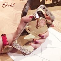 Wholesale Elegant Case For Iphone - elegant woman love luxury diamond mirror kickstand finger ring case For iphone X 7 Plus iPhone 8 Case iphone 6 6plus 7plus, soft TPU case