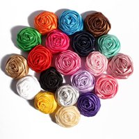 Wholesale Wholesale Fabric Hair Ribbon - Wholesale-50pcs lot 5CM 20Colors Novelty Artificial Soft Satins Ribbon Rolled Rose Fabric Flowers For Headbands Children Hair Accessories