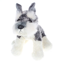 Wholesale collectible teddy bears - 25Cm Gray Simulation Schnauzer Dog Plush Stuffed Doll Toy Collectible Soft Plush Toy Kids Birthday Gift Toy