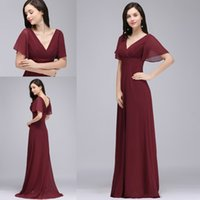 Wholesale Long Sleeve T Shirts Junior - Under $50 New Fashion Burgundy Chiffon Beach Bridesmaid Dresses With Short Sleeves V Neck Pleats Junior Maid Of Honor Dresses Cheap CPS715