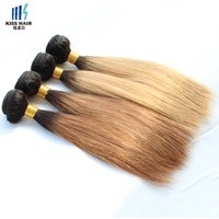 Wholesale Malaysian Remy Straight Hair 4pcs - 4Pcs 10inch Colored Indian Hair Bundles Straight 50g pc T1B 30, T1b 27 Honey Blonde Extensions Ombre Indian Remy Hair Short Bob Style