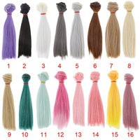 Wholesale Wholesale Wigs For Dolls - 15x100cm Doll DIY Wig Straight Hair for 1 3 1 4 1 6 BJD SD Barbie Dolls Accessories