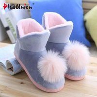 Lovely Ladies Crystal Peluche Pink Home Slippers Warm Floor Ball Genuine Cony Capelli Inner Balls Scarpe da donna in cotone Winter Latex Sew