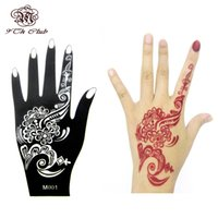 Wholesale Glitter Body Paint Stencils - Wholesale- 1pcs Henna Hand Tattoo Stencil,Flower Glitter Airbrush Mehndi Henna Tattoo Large Templates Stencils For Body Paint 20*10.5cm